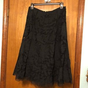 Black Midi Embroidered Skirt